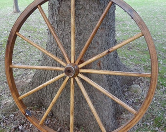 """Rustic Wagon Wheel, Highest Quality, 48"""" Tall. Hardwood and Steel. Beautifully finished, and built to last.."""
