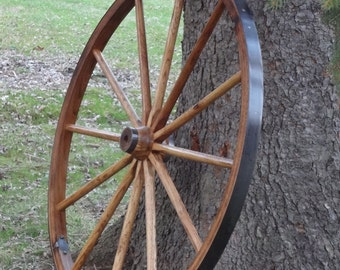 """Rustic Wagon Wheel, Highest Quality, 36"""" Tall. Hardwood and Steel. Beautifully finished, and built to last.."""