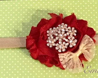 Red and taupe shabby flower headband