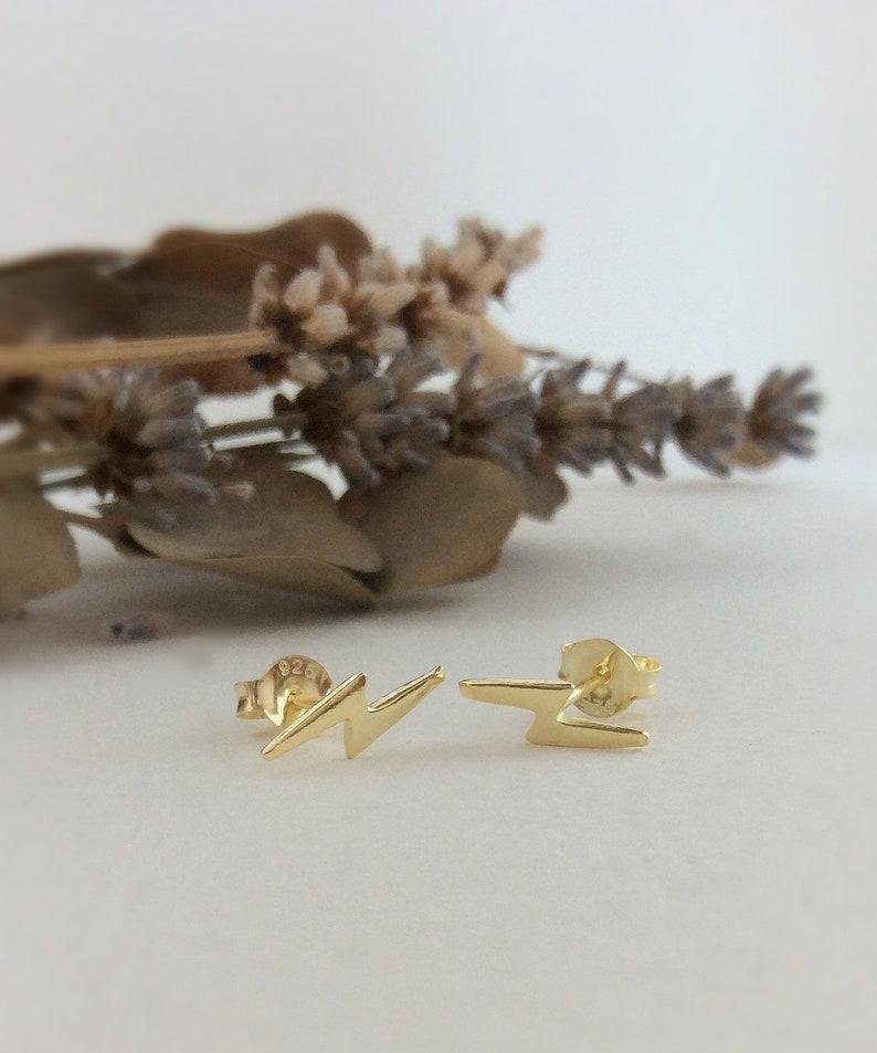 bolt earrings Sterling silver lightning studs Lightning Bolt earrings silver lightning earrings gold lightning bolt earrings