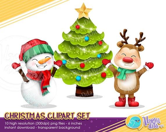 Christmas Holidays Clipart.Christmas Clipart Holiday Clipart Cute Christmas Digital Clipart Christmas Printables Christmas Bundle Santa Snowman Reindeer