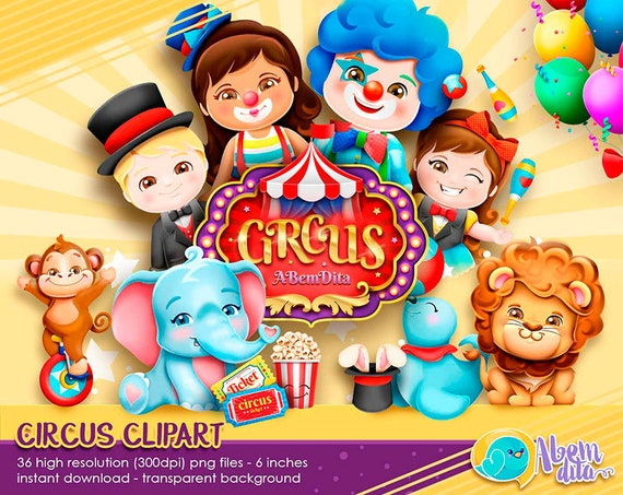 CIRCUS BUNDLE 20 Images 15 Words Clowns Elephants Monkey Lions Seal Personalization Blanks Cute Adorable Circus Scrapbook Bundle Digital PNG