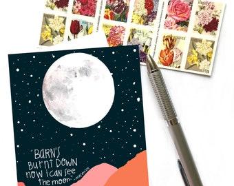 Burnt Barn,  Mizuta Masahide Quote, Barn's Burnt Down Now I Can See The Moon, Greeting Card