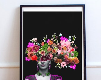 "8.5"" x 11"" Frida Kahlo, Mexican Artist, Frida With Flowers, Frida, Mexican Art, Digital Download,"