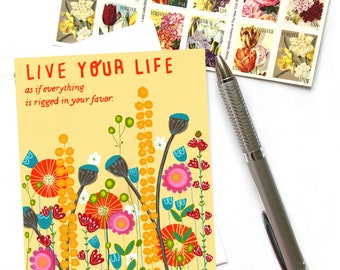 Live Your Life As If Everything Is Rigged In Your Favor Greeting Card, Inspirational Card, Rumi Quote Card