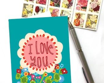 I Love You Greeting Card, Burnt Barn Studio Card