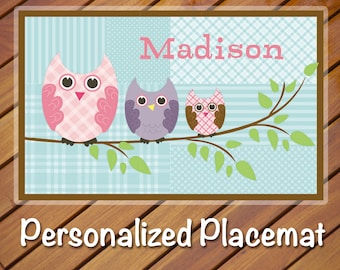 Personalized Placemat Quilted Owl, personalized gift for kids - Personalized Kids birthday favors - Kids Placemat - Kids Personalized Gifts
