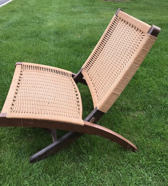 Strange Vintage Mid Century Hans Wegner Style Paper Cord Rope Folding Chair Yugoslavia Ocoug Best Dining Table And Chair Ideas Images Ocougorg