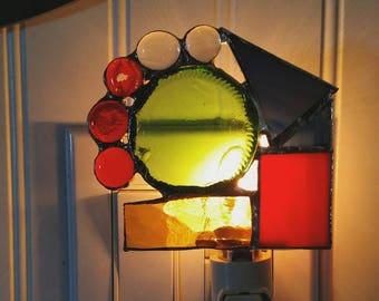 Upcycled Heineken Bottle Stained Glass Nightlight- Geometric Nightlight- Heineken Nightlight- Beer Lover Gift- Functional Art