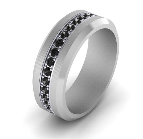 Eternity Black Diamond Mens Wedding Band Ring 1 08 Carats Available In Tungsten Platinum 14k White Gold