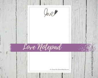 Love Notepad, Stationery, Hand Drawn, Large Notepad, Unlined Notepad, 50 page Notepad, Elegant Stationery, Mocha, Decorative Border