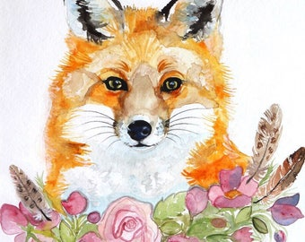 Large floral Red Fox original watercolor with feathers