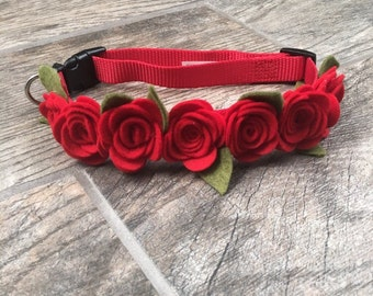 Red Rose Dog collar, Pet collars & leash, Red Roses, Wedding pet collars, Dog Weddings, Pet collars, Cat collar, show dog accessories,