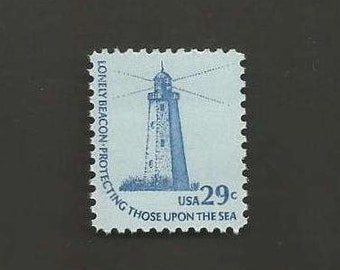 10 Sandy Hook Lighthouse Vintage Postage Stamps, 29 Cents, Unused # 1605