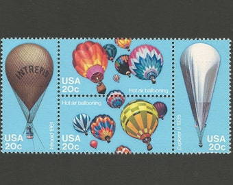 10 Hot Air Balloon Vintage Postage Stamps, 20 Cents, Unused # 2032-2035, 4 Different Designs
