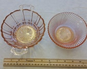 vintage pink crystal depression glass bowls 1930 39 s diana pattern swirl by federal anchor hocking old cafe double handle dish scalloped rim