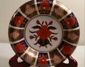 vintage fitz and floyd 6.5 quot empress pattern porcelain ashtray dish bowl 1978 - cobalt blue orange gold trim imari charger style - ornate
