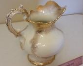 vintage homer laughlin 1900 era large pitcher 2218 - gold gild ironstone handle scalloped edges - vase juice water victorian ornate decor