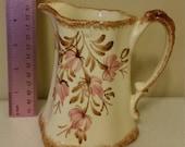 vintage clinchfield artware pottery ironstone pitcher - erwin tn 1940 era - hand painted brown trim pink flowers - antique tenn home decor