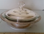 vintage sheridan silver company silverplate lidded covered casserole dish - anchor hocking fire king 1 1 2 qt glass bowl - serving ovenware