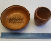 2 mexico art bowl cup 1950 39 s - santa ana army soldiers marching - primitive mexican terra cotta type - red ware clay pottery vintage