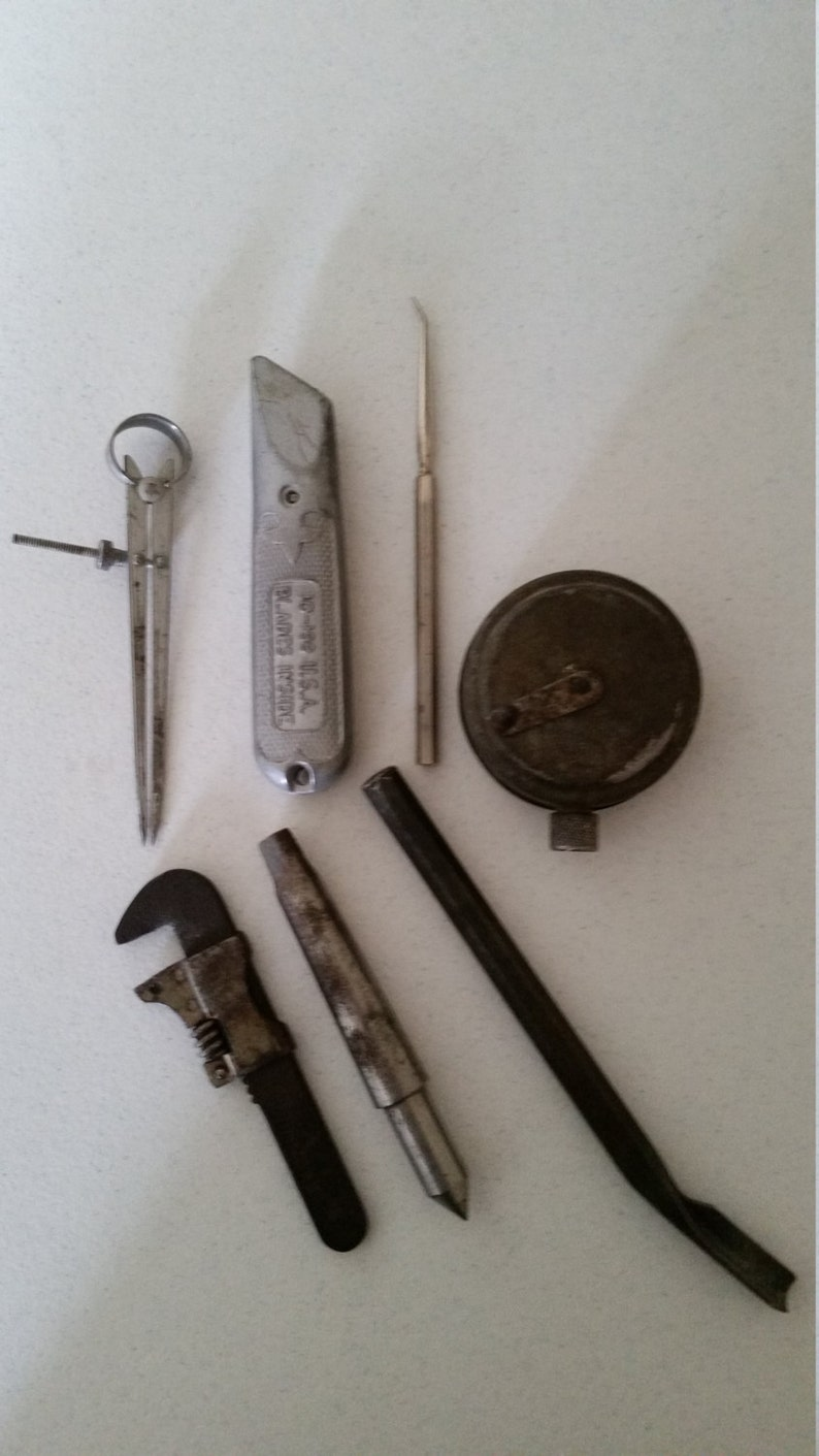 7 antique tools and devices - vintage carpenter mechanic lot - dandee reel  chalk monkey wrench punch muffler draw compass stanley germany