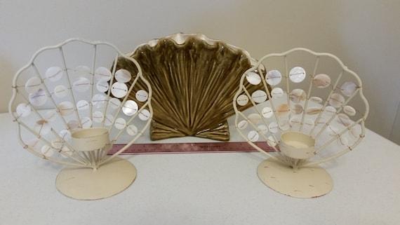 3 Piece Vintage Metal Ceramic Pottery Seashell Vase And Etsy