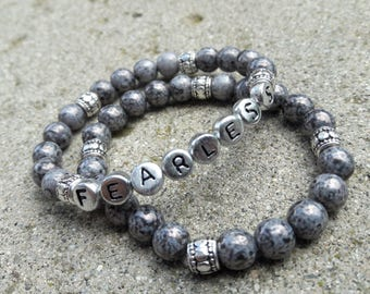 FEARLESS-Grey Glass Bracelet Set