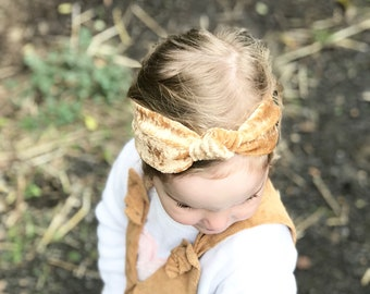Velvet top knot headband - toddler/child size