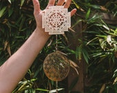 Trinity Vibe Catcher, Sacred Geometry Wall Hanging, Crystal Mobile, Sri Yantra Flower of Life Seed of Life Wallhanging, Sacred Geometry Art