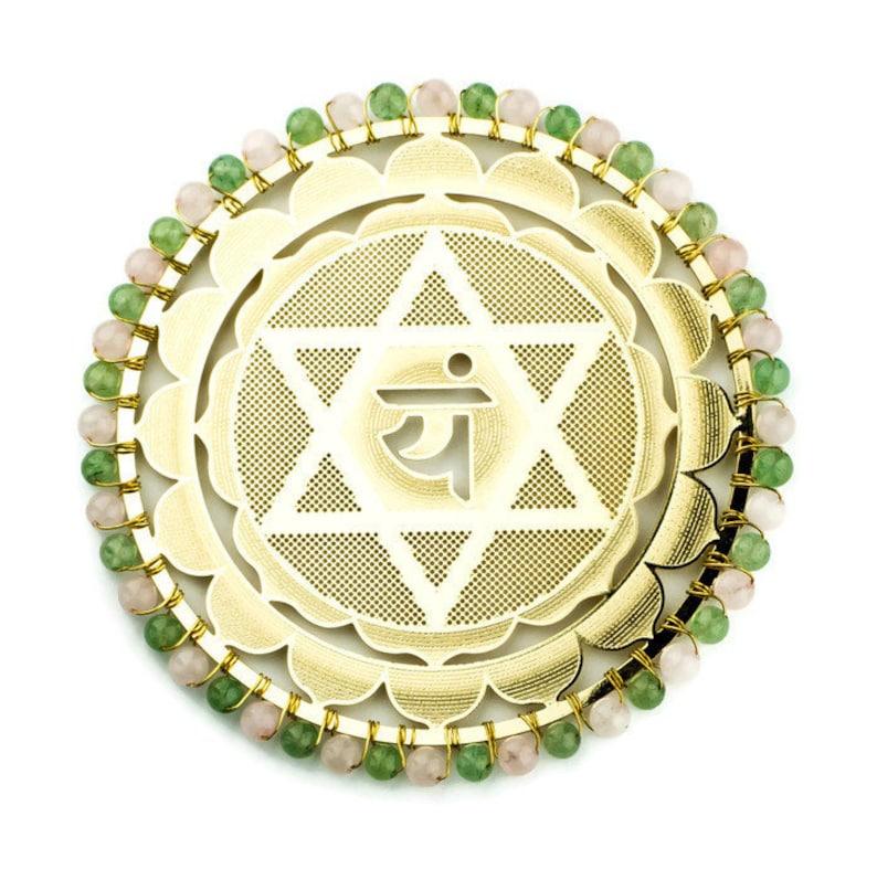 Heart Chakra Healing Metaphysical Tool, Heart Chakra Crystals Gold Plated  Anahata Symbol, Reiki Healer, Chakra Balancing, Energetic Healing