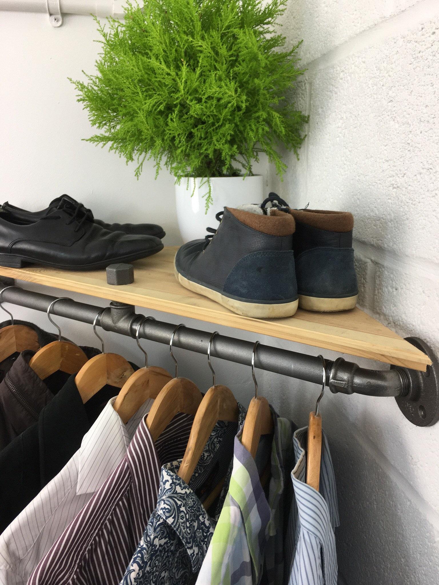 Handmade Urban Industrial Corner Shelf and Clothes Hanging Rail