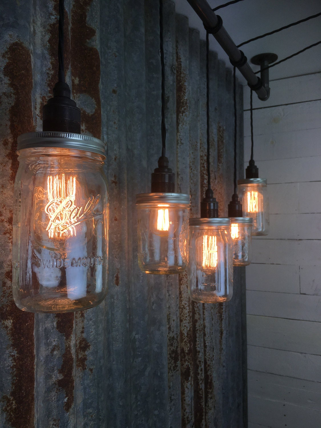 industrial bar lighting. Handmade 5 Drop Bar Light | Mason Jar Industrial Urban Lamp  With Jars Pendant Ceiling // Cromer Industrial Bar Lighting