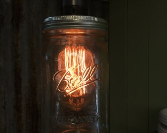 Camber : Mason Jar Pendant Light, Handmade in a steampunk inspired style.