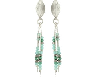 Drop Earrings , Sterling Silver Earring With Crystal Swarovski beads turquoise and green , Hand Made Crystal Dangle Earrings