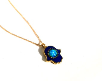 Hamsa necklace, kabbalah necklace,   opal necklace ,Gold charm necklace,Hand with blue opal ,Jewish jewelry
