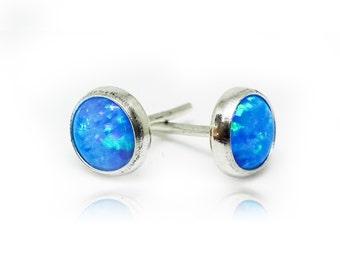 Sterling Silver Stud Earrings   Silver Studs   Blue Opal Earrings   Silver Stud Earrings   Opal Earrings   Sterling Silver Studs