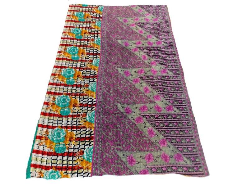 Kantha Quilt Jaipuri Gudri Indian Handmade Patch Work Design Kantha Cotton Throw Bedspread Vintage Quilt