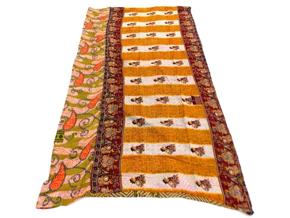 Paisley Design Indian Handmade Gudri Kantha Quilt Throw Bedspread Reversible Vintage Cotton Quilt Red Color Jaipuri Gudri