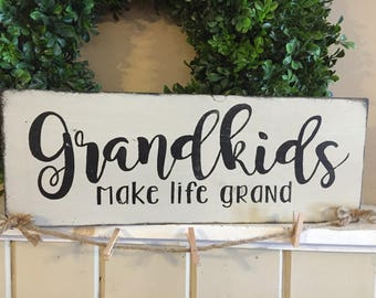 Grandkids make life grand photo hanger brag board