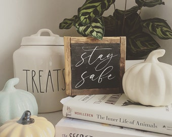 Stay safe rustic farmhouse style framed square small sign tiered tray accent