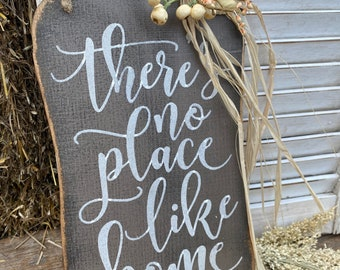 There's no place like home rustic fall wood pumpkin hanger rustic grey