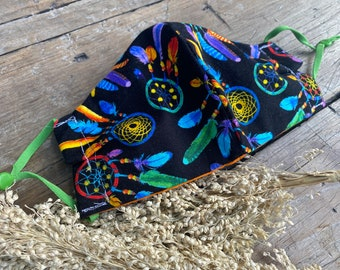 Dream catcher print Reusable washable handmade fabric face mask With adjustable ear loop elastic