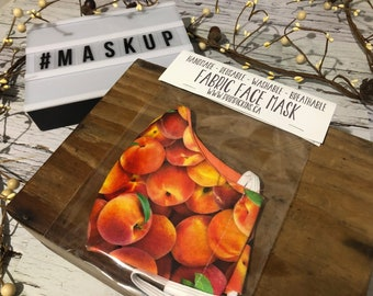 Ready to ship Washable reusable fabric face mask // face cover // peaches