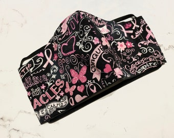Pink Ribbon Breast Cancer, Washable, Reusable handmade fabric face mask