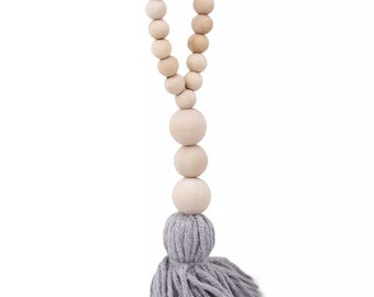 Farmhouse Wood Bead Hanger with tassel natural and grey