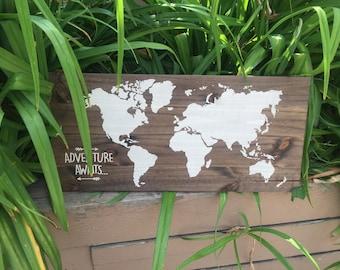 Rustic wood world map // adventure awaits