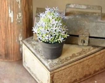 """potted faux floral meadow glade 5.75"""" plant tiered tray decor accent supply farmhouse style"""