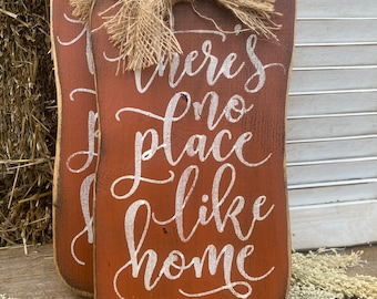 There's no place like home rustic fall wood pumpkin hanger
