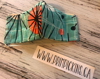 Retro blue green Ready to ship Washable reusable fabric face mask